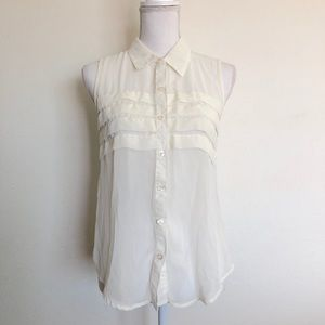 Tops - Sheer button up blouse with ruffles